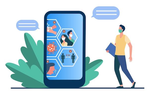 Chat de sensibilisation aux coronavirus. utilisateur de téléphone en mas regardant l'écran avec illustration vectorielle plane de restriction covid infographie. pandémie épidémique