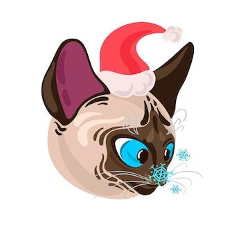 Chat siamois mignon portant l'illustration de vecteur de noël de bonnet de noel avec l'animal familier drôle