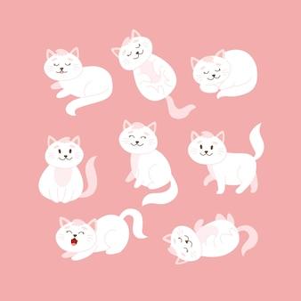 Chat situé dans différentes poses. joli personnage de chat blanc en style cartoon, illustration vectorielle