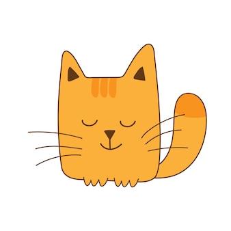 Chat souriant au gingembre carré drôle et mignon isolé sur fond blanc