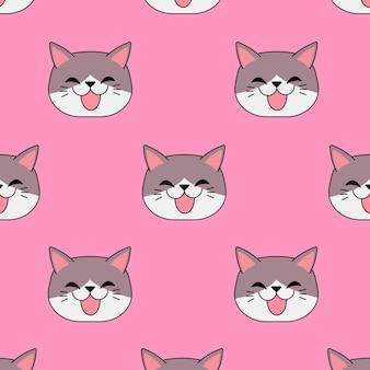 Chat souriant en jacquard sans couture sur fond rose. meilleur design pour l'emballage cadeau. illustration vectorielle.