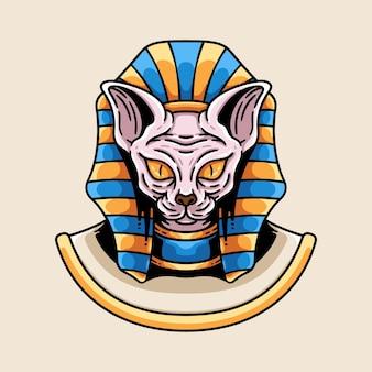 Chat sphinx avec illustration de la coiffe