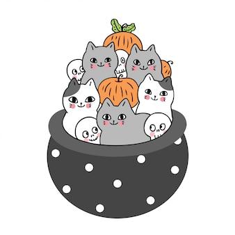 Chat et squelette et potiron dans un pot de poison