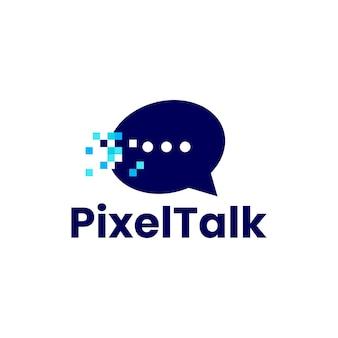 Chat talk message social pixel mark digital 8 bits logo vector icon illustration