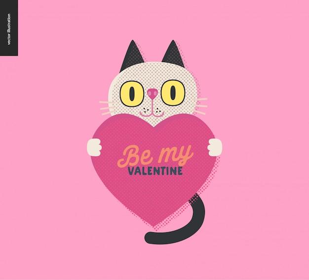 Chat tenant un coeur valentine