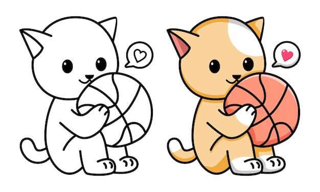 Chat tenant une page de coloriage de basket-ball pour les enfants