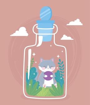 Chat de terrarium de pot jouant avec illustration de dessin animé de décoration de plantes à billes