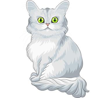 Chat tiffany bleu mignon vecteur assis