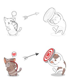 Chat tire facilement la page de coloriage