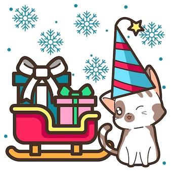 Chat avec traîneau à la fête de noël