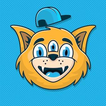 Chat avec trois yeux et chapeau isolé sur bleu