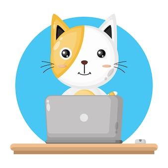 Chat utilisant le logo de personnage mignon pour ordinateur portable