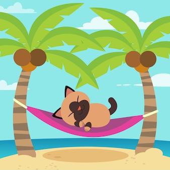 Chat de vecteur de dessin animé mignon dans un hamac