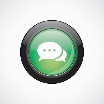 Chat verre signe icône vert brillant bouton. bouton du site web de l'interface utilisateur