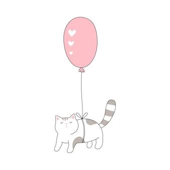 Chat volant en ballon chat de dessin animé mignon salutation de la saint-valentin illustration vectorielle dessinée