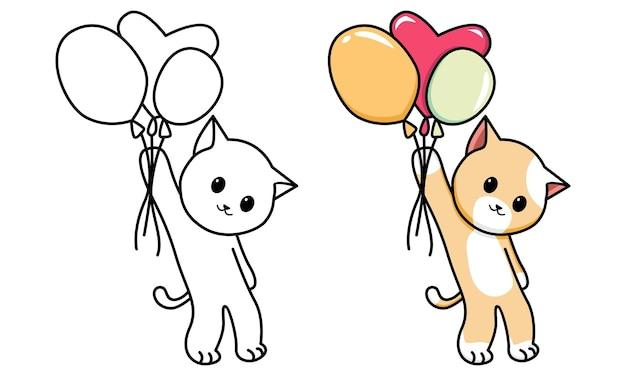 Chat volant avec un ballon à colorier pour les enfants