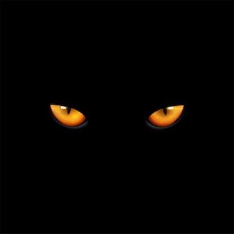 Chat yeux sur fond noir.