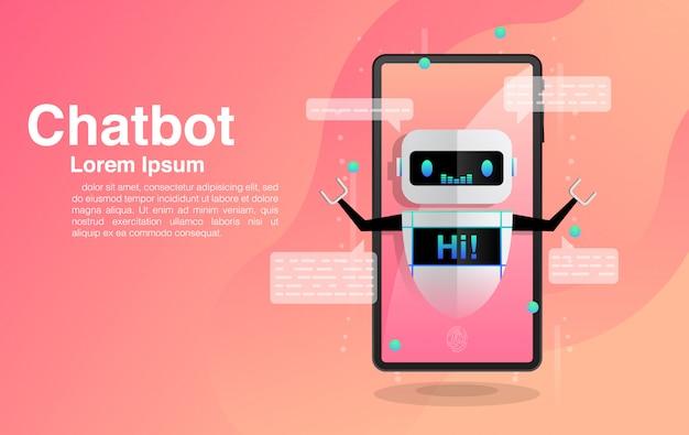 Chatbot, chatbot dans smartphone, discuter avec l'application chatbot, technologie chatbot et centre d'aide en ligne,