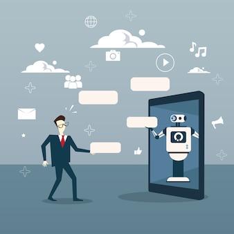 Chatbot concept man communication avec chat bot de tablette numérique