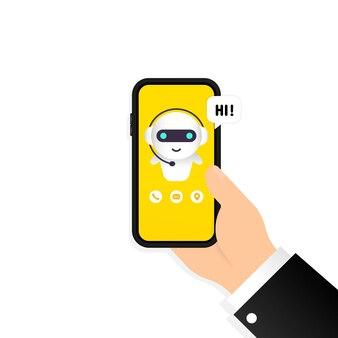 Chatbot dans l'illustration du smartphone. salut message. modèle de page de destination du robot assistant en ligne. dialogue. soutien technique. pour la page web. vecteur sur fond blanc isolé. eps 10