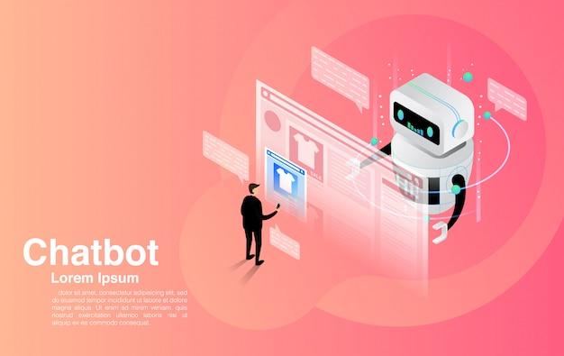 Chatbot, discuter avec l'application chatbot, la technologie chatbot et le centre d'aide en ligne.