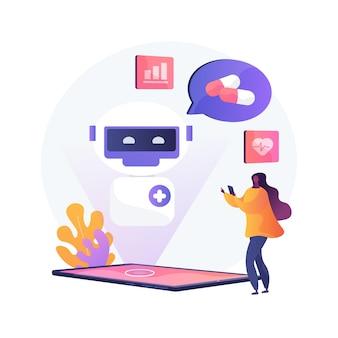 Chatbot en illustration de concept abstrait de soins de santé