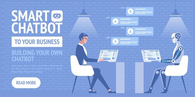 Chatbot intelligent pour votre entreprise, affiche pour entreprise, site, bannières
