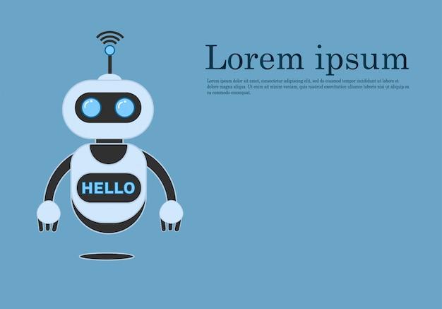 Chatbot souriant aidant à résoudre les problèmes, robot d'innovation
