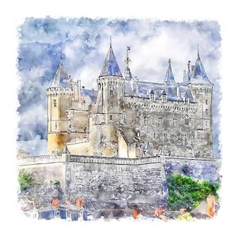 Château allemagne aquarelle croquis illustration dessinée à la main
