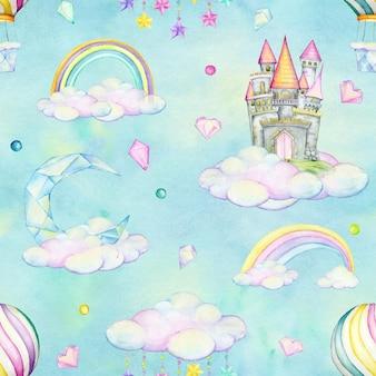 Château, ballon, cristaux, coeurs, arc-en-ciel, lune, guirlande, nuages, style cartoon, dessinés à la main. modèle sans couture aquarelle.