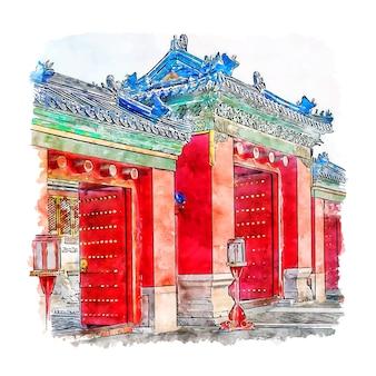 Château beijing chine aquarelle croquis illustration dessinée à la main