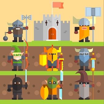 Château et chevaliers. ensemble de jeu médiéval