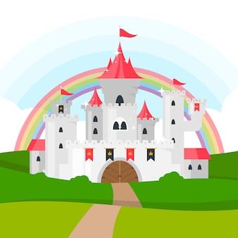 Château de conte de fées avec arc-en-ciel
