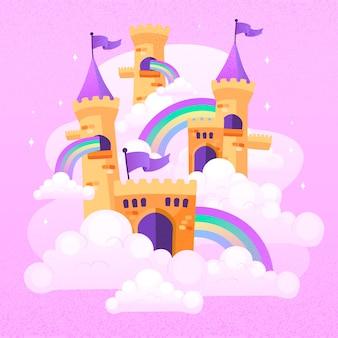 Château de conte de fées avec des arcs-en-ciel et des drapeaux