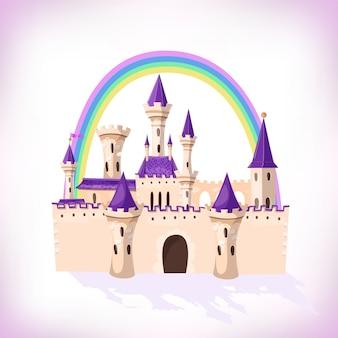 Château de conte de fées. château de dessin animé. palais de conte de fées fantastique avec arc-en-ciel. illustration.