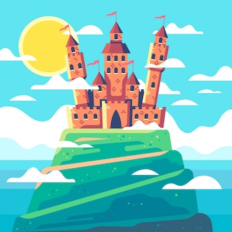 Château de conte de fées coloré illustré