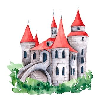 Château de conte de fées créatif aquarelle