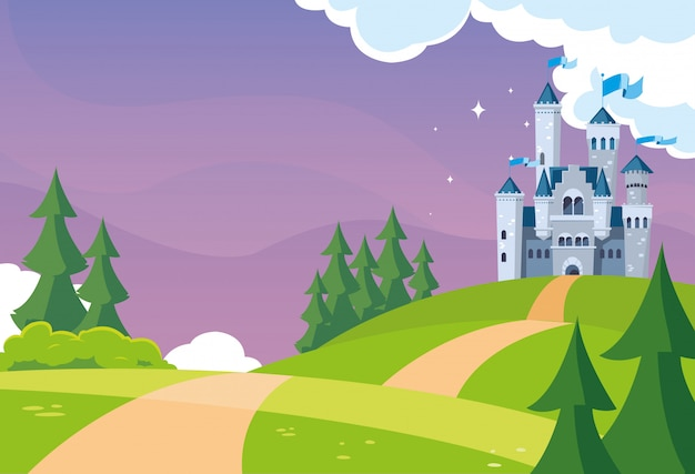 Château de conte de fées dans un paysage montagneux