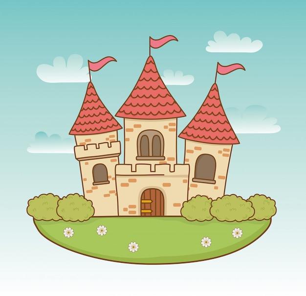 Château de conte de fées dans la scène de paysage