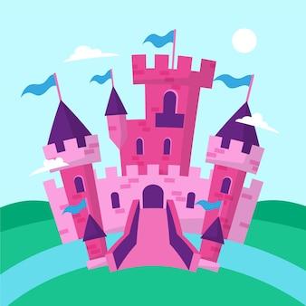 Château de conte de fées design plat