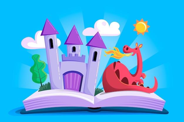 Château de conte de fées et dragon
