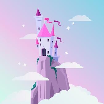 Château de conte de fées girly sur le sommet de la montagne