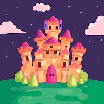 Château de conte de fées illustration nuit