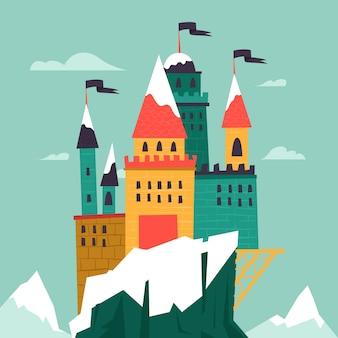 Château de conte de fées avec de la neige