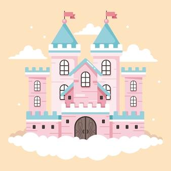 Château de conte de fées avec des nuages