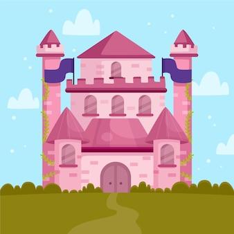 Château de conte de fées rose