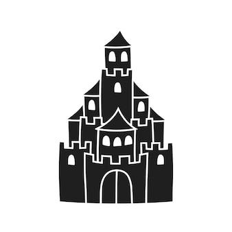 Château de conte de fées silhouette noire