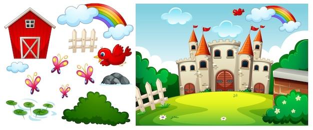 Château dans la scène de la forêt avec des objets et des personnages de dessins animés isolés