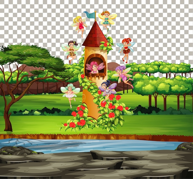 Château dans le thème de conte de fées sur fond transparent