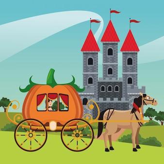 Château du royaume avec cheval